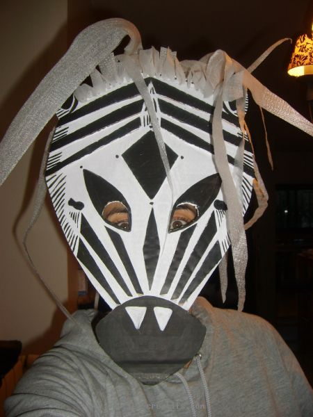 Cardboard mask: zebra