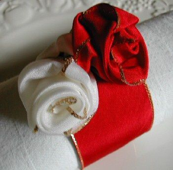 ribbon forming a rose for festive napkins
