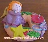 christmas angel candleholder in salt dough