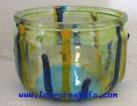 Painted glass tea light holder