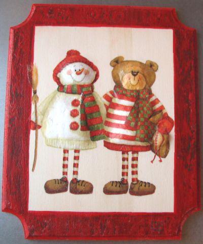 Christmas frame with napkin technique and painting - Technique peinture bois ...