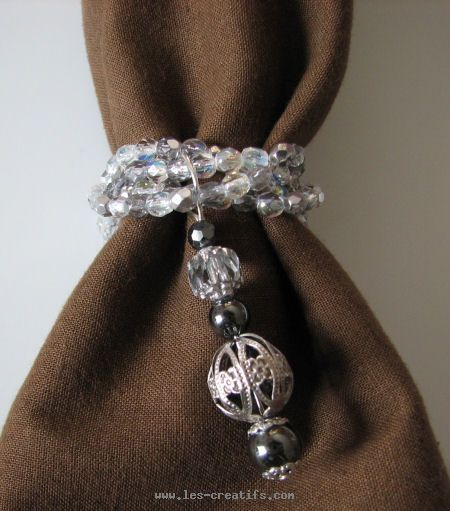 Close up Of Hematite And Bead Napkin Ring