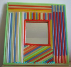 Mirror decorated with drinking straws