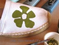 Painting the canvas surface of the espadrilles