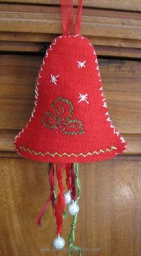 Christmas bell made from embroidered felt