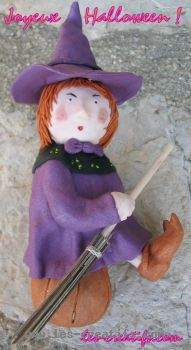 Halloween witch figurine made from fimo