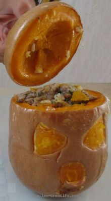 Stuffed butternut squash, extra gross just for Halloween!