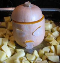 Halloween squash, ready for the oven