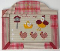 Hen picture frame and picture made from fabric and felt