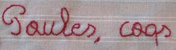 Words written with the crewel or stem stitch