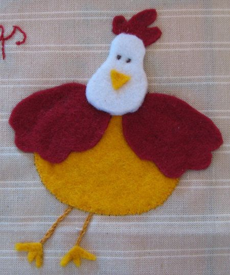 Large hen made from felt