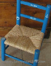 chair painted using a stencil