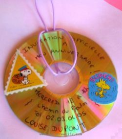 Invitation made from a recycled CD