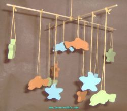 Wood mobile for child's bedroom