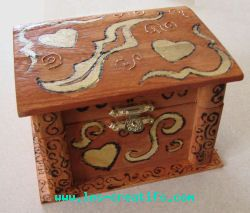 Pokerwork decorated wooden jewelry box