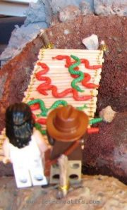 LEGO figures before the rope bridge