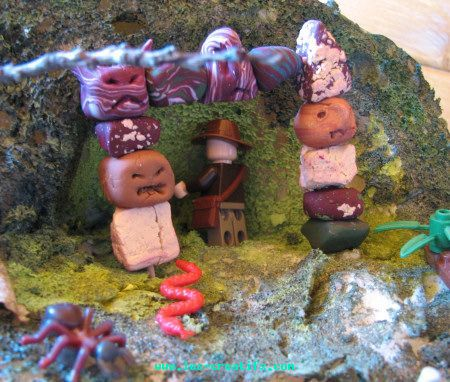 Totem' temple entrance in fimo clay