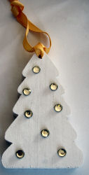 Miniature wood fir tree with gold rhinestones