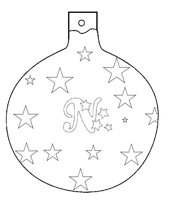 Christmas ball ornament to color and cut out. N for Noel theme