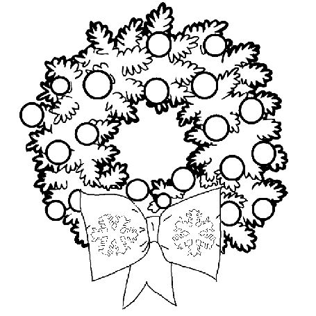 christmas themed composition to color in christmas wreath coloring