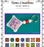 free cross stitch pattern with alphabet set for a key rings
